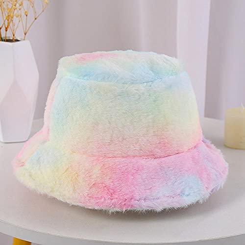 AOQW Sombrero De Pescador Sombrero De Invierno para Mujer Sombrero De Cubo De Panamá con Estampado De Arcoíris De Vaca para Mujer Gorros De Pescador De Panamá-Pink_Green