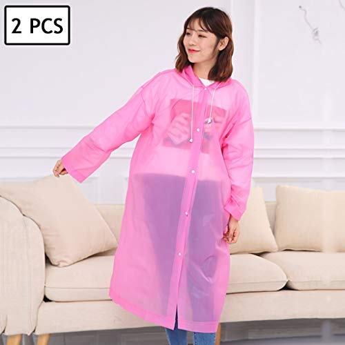 Great Deal! Lgan 2PCS Disposable Rain Ponchos, Clear Adults Emergency Waterproof Raincoat with Hood ...