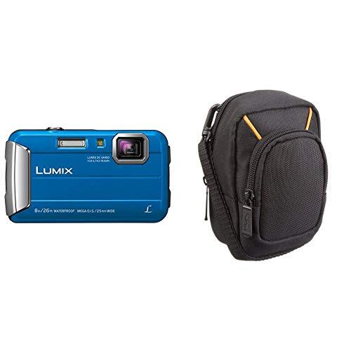 Panasonic LUMIX DMC-FT30EG-A Outdoor Kamera (16,1 Megapixel, 4X Opt. Zoom, 2,6 Zoll LCD-Display, 220 MB interne Speicher, wasserdicht bis 8 m) & AmazonBasics Kameratasche für Kompaktkameras, groß