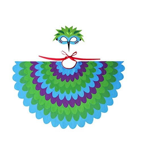 MICHAELA BLAKE Maske Kinder-Halloween-Fee-Vogel-Kostüm Peacock Flügel FeatheredMask für Halloween Party Supplies Grün