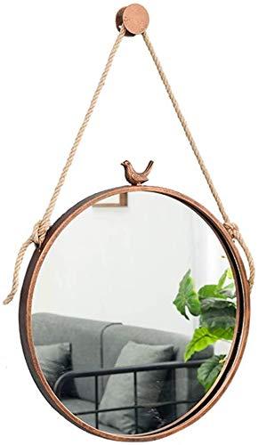 GDFEH espejo Maquillaje ronda espejos de vanidad montado en la pared de baño espejo con marco de la cuerda de cáñamo metal afeitar Espejo Espejo de pared decorativo del sostenedor del hogar HD decorat