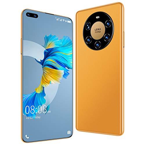 Mate40 Pro+ Smartphone ohne Vertrag Android 10, 4G LTE 7,3 Zoll Bildschirm, 4GB RAM+32GB ROM, 6000mAh Akku, 50MP+24MP Kamera, WLAN, Face ID, Dual SIM Handy,Gelb