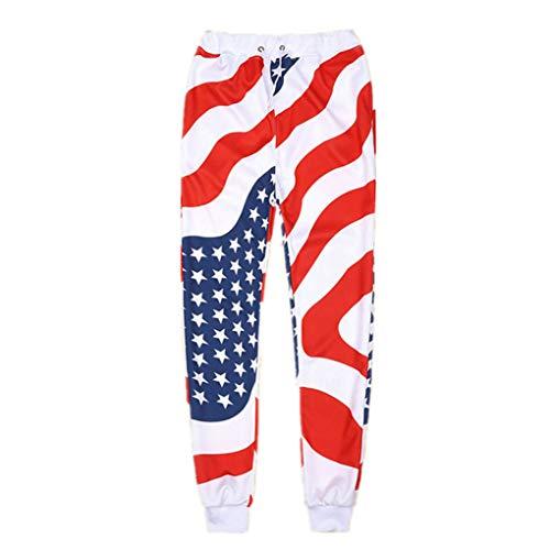 Unisex Fashion Jogger USA amerikanische Flagge Jogginghose Stars and Stripes Lange Hosen in voller Länge lose Bequeme Hosen Fashion Sweatpants L