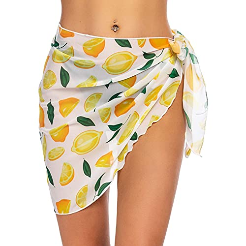 Traje de baño para mujer playa Tie Wrap falda sexy bikini Sheer bufanda malla pareo traje de baño, amarillo, Talla única