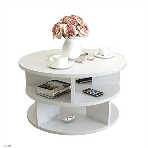 YNN Table Table de Chevet, Bout Rond, Table d'appoint, Coin canapé, Meuble Bureau à Domicile Noir, Rose, Blanc, Bois (2 Tailles) (Couleur : Blanc, Taille : D50cm)