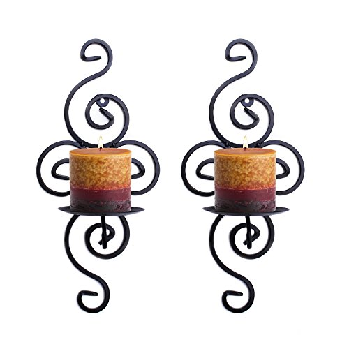 Pair of Elegant Swirling Iron Hanging Wall Candleholders Votives Sconce for Home Wall Decorations, Weddings, Events