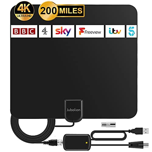 TV Aerial, Jubolion 2021 Latest Digital Indoor TV Aerials has Up to 200 Miles Range with Amplifier Signal Booster can Freeview 4K 1080P HD VHF UHF Local Channels for Free - 16.5ft Coaxial Cable(Black)