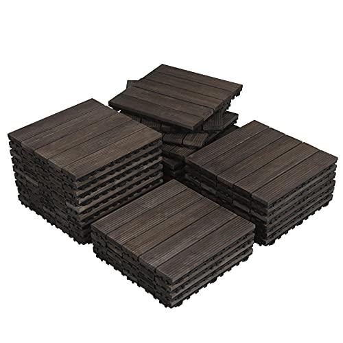 Topeakmart 27PCS Wood Flooring Tiles Interlocking Patio Deck Tiles Blocks Indoor Outdoor Solid Wood 12 x 12in Black
