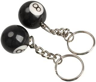 Billiards Pool Key Chain 2 pc 8 Eight Ball Key Chains