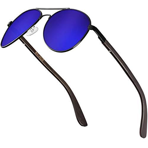 Balinco® Pilotenbrille mit dunklen Bambus-Bügeln für Damen & Herren - mit polarisierten Gläsern und UV-Schutz - stabil, kratzfest & besonders langlebig - im Set inkl. Geschenke-Box