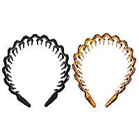 PIXNOR 2Pcsプラスチックプレーンヘッドバンド波状ヘッドバンド歯くし波ヘアバンドdiyヘアバンドヘアフープスパヘッドバンド女性用ヘッドウェア女の子メイクブラックアンバー