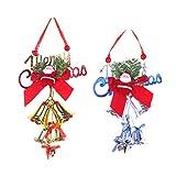 LIOOBO 2 Piezas Navidad Santa Claus Campana Colgante Bowknot árbol de Navidad decoración Colgante Campanas para Navidad hogar Bar Hotel