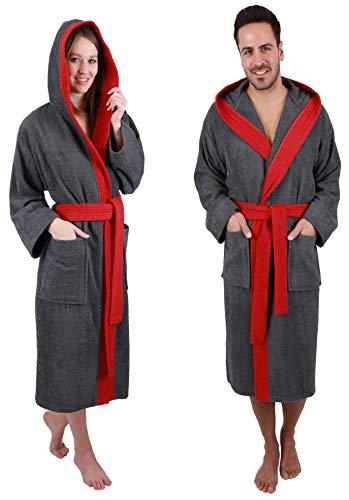 Betz Bademantel mit Kapuze Paris 100% Baumwolle für Damen und Herren 2-farbig Größe S-XXL Größe S - anthrazit-rot