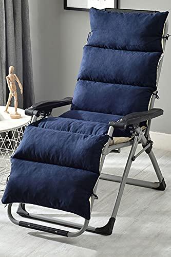 Cojín para silla mecedora de sol, portátil, antideslizante, de repuesto, para jardín, terraza, ocio, silla de mimbre, para vacaciones, viaje, (gris/155 x 50 x 12 cm), azul marino, 175 x 50 x 12