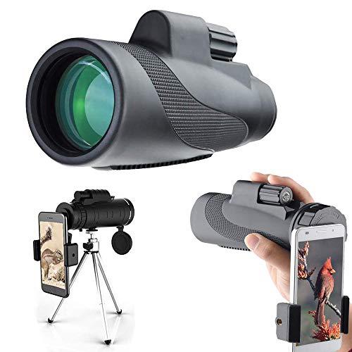 Monokular-Teleskop, 40 x 60, Monokulares Fernrohr für Vogelbeobachtung, Reisen, Konzert, Sport, Spiel mit Handy-Adapter-Stativ