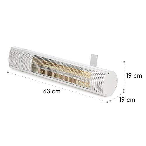 blumfeldt Gold Bar 2000 • Infrarot-Heizstrahler • Wand-Heizstrahler • max. 2000 Watt Leistung • regulierbar in 3 Stufen • einfache Installation • Gold-Infrarotröhre • Fernbedienung • silber - 6