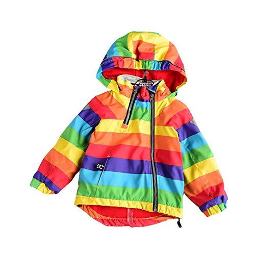 Gaga city Regenjacken & Regenmäntel für Mädchen Jungen wasserdichte Jacke mit Kapuze Drucken Winddicht Kinderjacke Gefütterte Windjacke Regenbogen/100