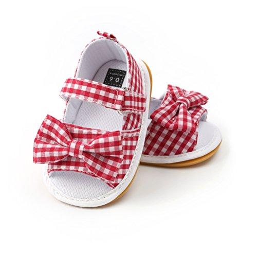 Baby Mädchen Sandalen Bowknot Sommer Schuh-Turnschuh Anti-Rutsch, Gr.-19 EU/ Herstellergröße- 120 (6-12 Monate), Rot