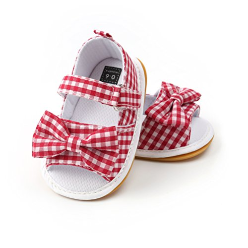 Sandalias de Bebé Niña con Bowknot, Zapatos de Verano para Infantil Pequeños con Suela Blanda (19 EU, Rojo)