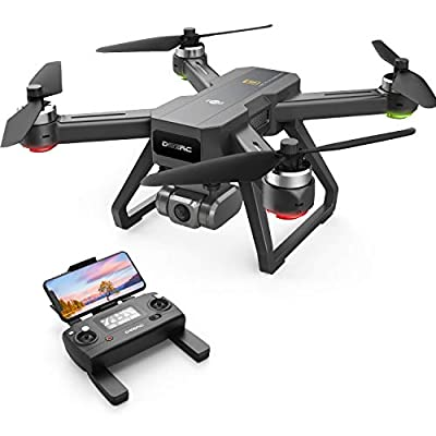DEERC D15 GPS Drone with 4K UHD EIS Camera, Anti-Shake, 5G FPV Live Video, 130° Wide Angle, 90 Adjustable, Brushless Motor, Auto Return Home, Follow Me, Tap-Fly, Optical Flow, Quadcopter for Adults