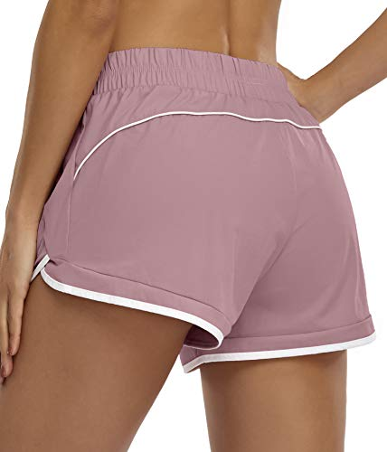 Blevonh Soccer Shorts Women,Pink Shorts Teenage Muffin Top Control Waist Stretchy 2-in-1 Run Short Ladies Cute Modest Running Sports Shots Spandex Underneath Athletic Bottoms Pink M