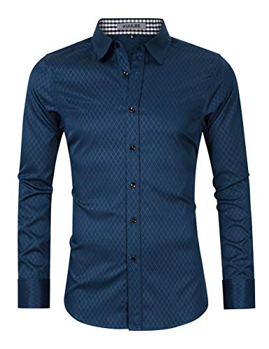 MOGU Mens Slim Fit Long Sleeve Dress Shirt Office Work Button Down Shirt US Size M (Lable Size 41) Blue