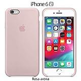 Funda Silicona para iPhone 6 y 6s Silicone Case, Logo Manzana, Textura Suave, Forro Microfibra (Rosa-Arena)