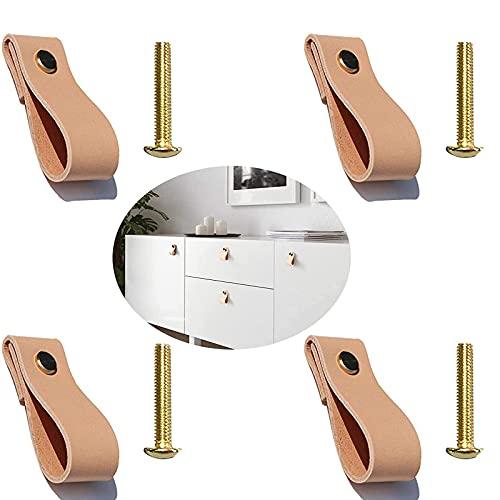 4 piezas Tiradores de Piel, Perillas de muebles de cuero, muebles de cuero manija de la puerta perillas de la puerta del gabinete cajón lazo tiradores manijas de la puerta, tornillos incluidos