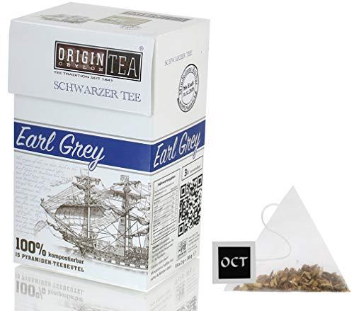 Origin Ceylon Tea Earl Grey Schwarzer Tee 15 Pyramiden-Teebeutel direkt von der Plantage aus Sri Lanka