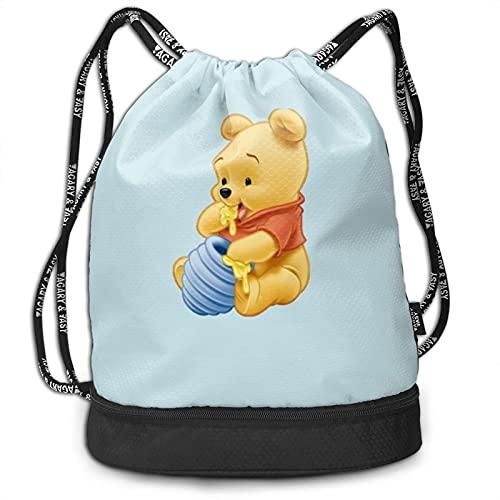 Winnie Cartoon Pooh Bundle Backpack Large Capacity Light Simple Portable Multi-functional Fashion Bundle Drawstring Backpack Suitable for Fitness Travel Men Women