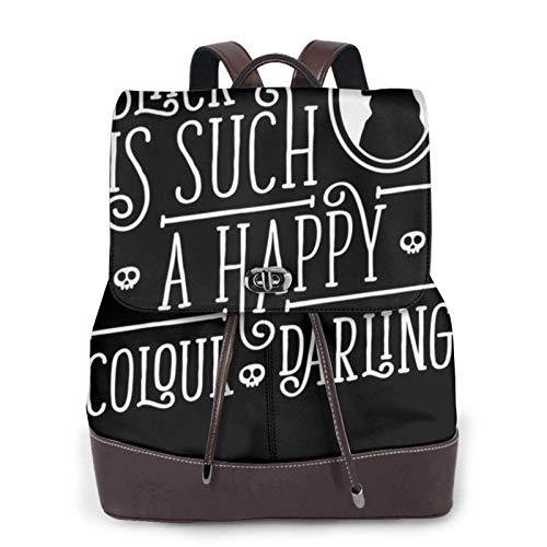Bla es un color tan feliz Tesoro Morticia Addams Family Women 's Bapack, College Girl School Bag, Ladies Travel Bapack, Ladies Leather Bapack