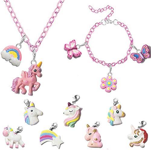 MJARTORIA Kinderschmuck Spielzeug Mädchen Charm Armband Halskette mit Austauschbar Anhänger Einhorn Kinder Geburtstag Geschenk Party Mitgebsel
