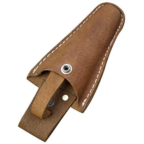 Funda de piel para tijeras y cuchillos de jardinería, funda de piel con hebilla, tijeras de podar, tijeras o cuchillos de jardín, funda de cuero (20 x 8,5 cm), color marrón