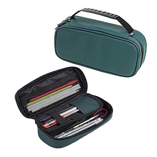 Obling PU Leder Kosmetika Tasche tragbar Federmäppchen Pencil Case Schreibwaren Bürsten für Mädchen Junge Teenager