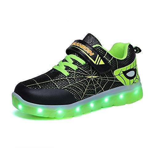 Kimily-UK Unisex Kinder LED Schuhe 7 Farbe USB Aufladen Leuchtend Outdoor Sportschuhe Low Top Atmungsaktives Ultraleicht Wasserdicht Laufschuhe Gymnastik Turnschuhe Blinken Sneaker Für Jungen Mädchen
