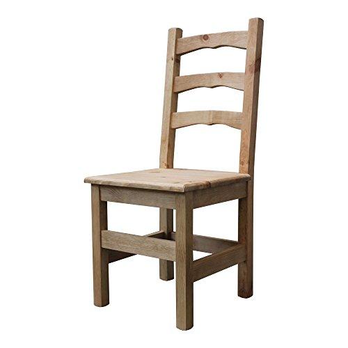 Elean Kuechenstuhl (HSL-01) Holzstuhl Esszimmerstuhl Stuhl mit Lehne Kiefer massiv vollholz zusammengebaut Verschiedene Farbvarianten Neu (Antik Wachs)