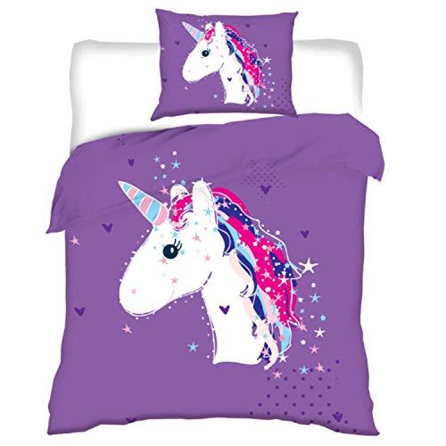 Aminata Kids Kinderbettwäsche Einhorn-Motiv 100x135 cm + 40 x 60 cm Mädchen aus Baumwolle mit Reißverschluss, unsere Kinder-Bettwäsche-Set mit Unicorn-Motiv, lila, weiß