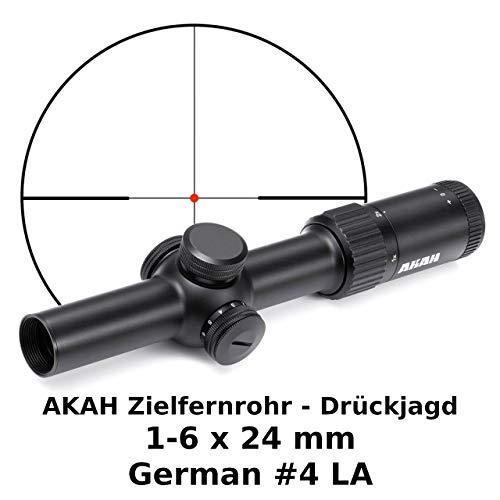 AKAH Zielfernrohr Drückjagd 1-6x24 Leuchtabsehen 4A Brillante Optik Lichtstark Kompakt Aus Aluminium