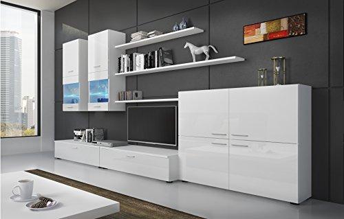 Home Innovation– Ensemble de Meubles Salon, unité Murale, Meuble Bas TV, Salle à Manger, Ensemble de séjour Contemporain avec ilumination LED, Blanc Laqué et Blanc Mate, Dimensions : 300x189x42cm.