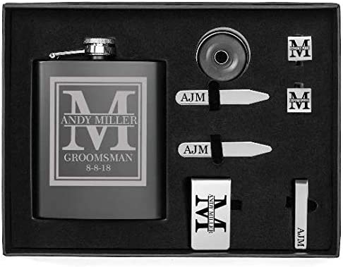 Custom Initial Deluxe Engraved 7oz Flask, Funnel, Money Clip, Tie Bar Clip, Square Cuff Links, Collar Stays Set Gift Box Set Personalized