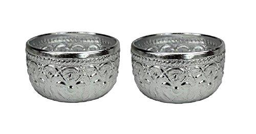 2 x Original Thai Gobelet couleur argent Volume : env. 0,4 l – Quaich Coupe en verre