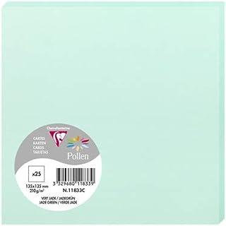 Clairefontaine 11833C - Un paquet de 25 cartes Pollen 13,5x13,5 cm 210g, Vert jade
