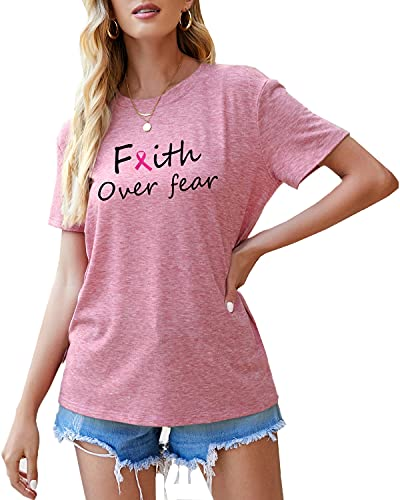Womens Pink Ribbon Breast Cancer Awareness Shirts Gifts Faith Over Fear Short Sleeve T Shirt Tops Tees