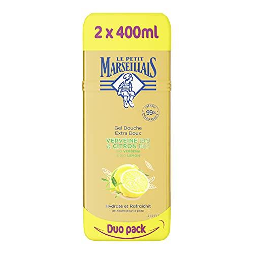 Le Petit Marseillais Duschgel Bio Eisenkraut und Bio Zitrone, pH-hautneutral, erfrischend und Feuchtigkeit spendend, 2 x 400ml