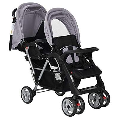 Cochecito doble para bebé, cochecito de bebé, cochecito de bebé, cochecito doble, con toldo plegable, el peso máximo de cada asiento es de 15 kg, tamaño: 118 x 41 x 108 cm