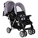Estink Passeggino gemellare per neonati, gemellare, leggero e compatto, con cestino grande e ruote bloccabili, adatto per bambini da 6 a 36 mesi (grigio e nero)