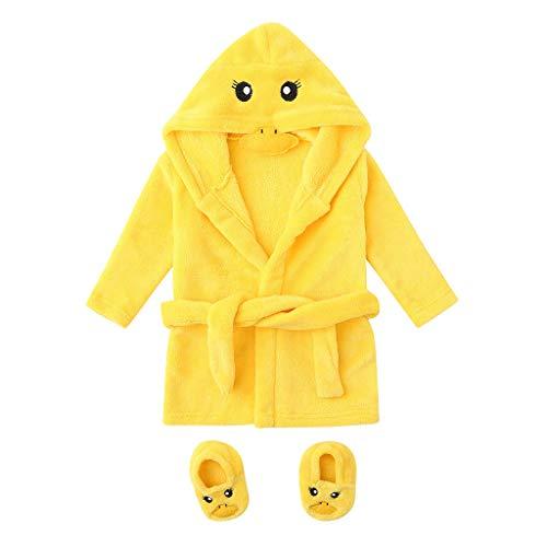 sunnymi 0-12 Monate Baby Jungen Mädchen Flanell Bademäntel Hoodie Nachtwäsche + Schuhe Outfits