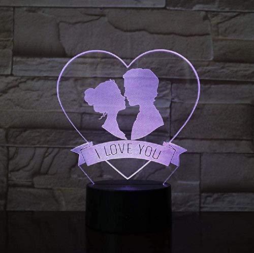 Luz de noche 3D para con lámpara de decoración con regalo de boda I Love You LED lámpara de noche placa de acrílico LED Touch Base dulce regalo para los amantes colores LampBirthday regalo para niños