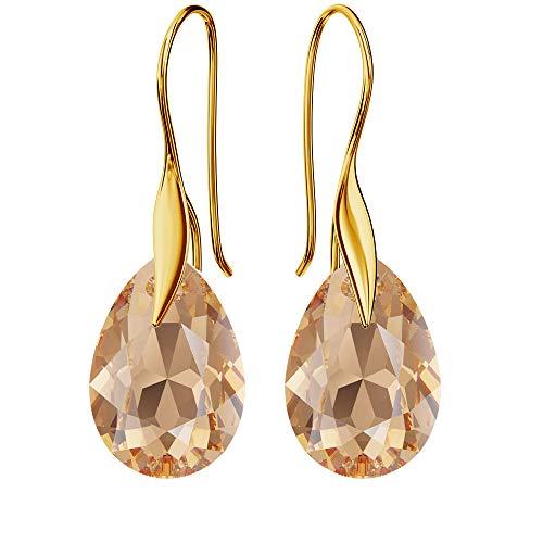 Pendientes chapados en oro de 24 K 925 con cristales de Swarovski – pera – Light Colorado Topaz – Gancho para mujer – Bonita joya para mujer con caja de regalo