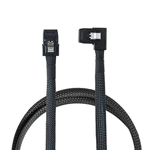 Cablecc Ultra Slim Flat rechtwinkliges 90-Grad-Mini-SAS-36-poliges SFF-8087- bis 8087-Daten-Raid-Kabel 80 cm